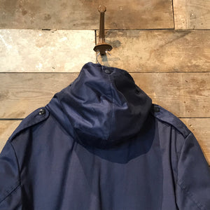 Vintage Navy Blue Fleece Lined German Parka With Fire Brigade Patches Size XXL