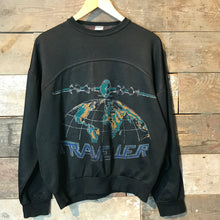 "Load image into Gallery viewer, Vintage Navy Blue ""Traveller"" Sweatshirt. Size M"