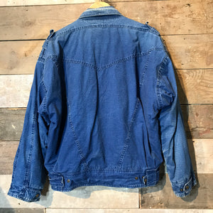 Vintage Blue Denim Sherpa Lined Jacket. Size M/L