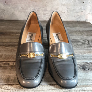 Vintage Grey Leather Céline Cousu Main Horsebit Heeled Loafers. In Excellent Condition. Size 38.