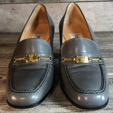 Load image into Gallery viewer, Vintage Grey Leather Céline Cousu Main Horsebit Heeled Loafers. In Excellent Condition. Size 38.