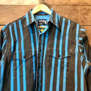 Vintage Wrangler Black and Blue Striped Thick 100% Cotton Shirt. Size L Long
