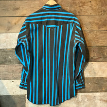 Load image into Gallery viewer, Vintage Wrangler Black and Blue Striped Thick 100% Cotton Shirt. Size L Long