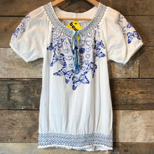 Load image into Gallery viewer, Desigual White Embroidered Cotton Peasant Blouse. Size S.