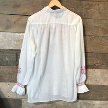 Load image into Gallery viewer, Vintage White Embroidered Collared Tunic. Size L