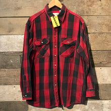 Load image into Gallery viewer, Red and Black Check Flannel Shirt. Size L TALL