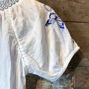 Desigual White Embroidered Cotton Peasant Blouse. Size S.