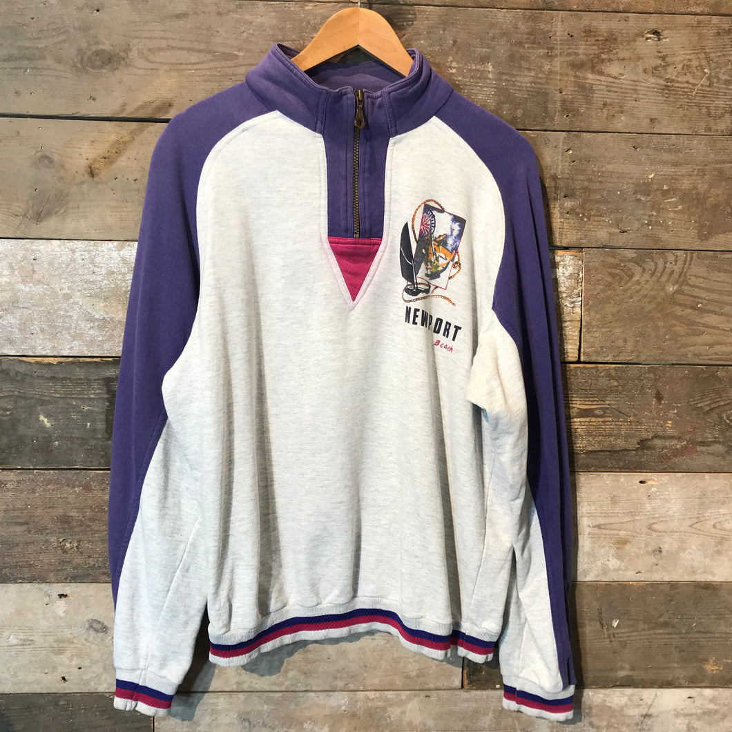 Vintage C&A Rodeo Quarter Zip Sweatshirt in Grey and Purple Size M