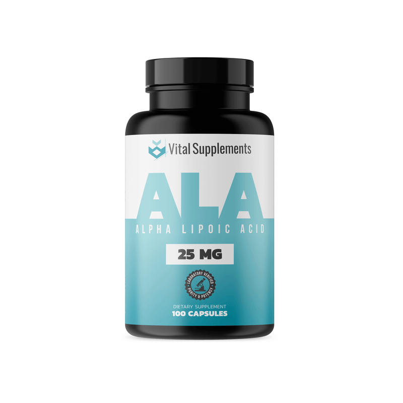 Dietary supplement bottle containing 100 capsules of 25mg Alpha Lipoic Acid (ALA) by Vital Supplements.