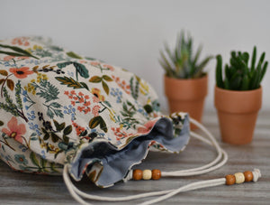 Flowers and leaves / Hand made project bag (4335009923106)