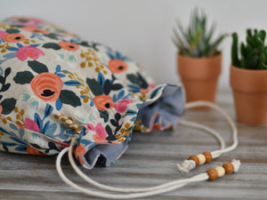 Flowers / Hand made project bag (4335009726498)