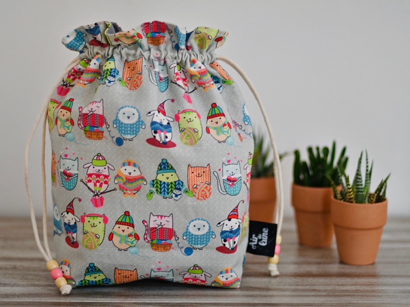 Cats / Hand made project bag (4335010086946)