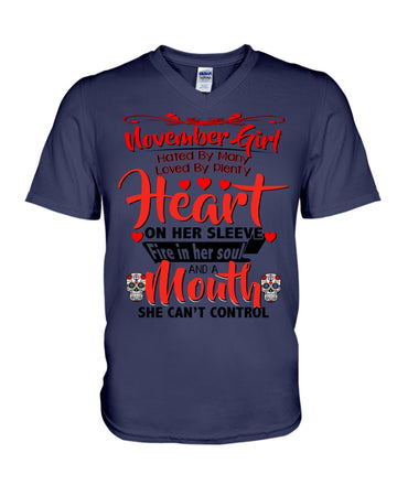 November Girl Loved By Plenty Heart And A Mouth She Can't Control Guys V-Neck