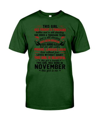 This November Girl Has Fought A Thousand Battles Guys Tee
