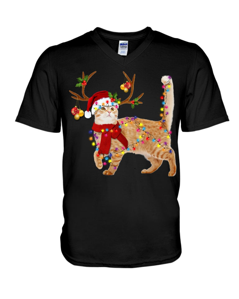 Cat Gorgeous Reindeer Christmas Gift Cute Guys V-Neck