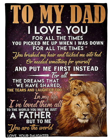 Lion King To My Dad Love Your Daughter Father's Day Gift Fleece Blanket