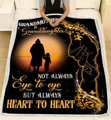 Blanket Giving Family Grandmother And Granddaughter Always Heart To Heart