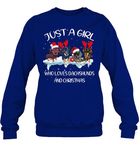 Just A Girl Love Dachshund And Christmas Shirt Sweatshirt