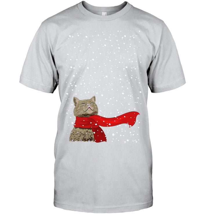 Cat Snow Christmas Gift For Cat Lovers Guys Tee