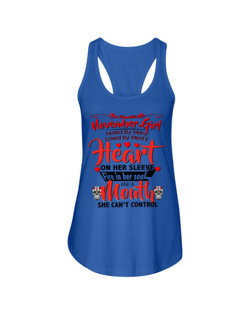 November Girl Loved By Plenty Heart And A Mouth She Can't Control Ladies Flowy Tank