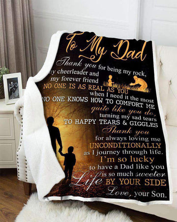Meaningful Father's Day Gift For Daddy From Son Blanket I'm So Lucky To Have A Dad Like You