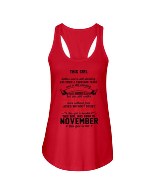 This November Girl Has Fought A Thousand Battles Ladies Flowy Tank
