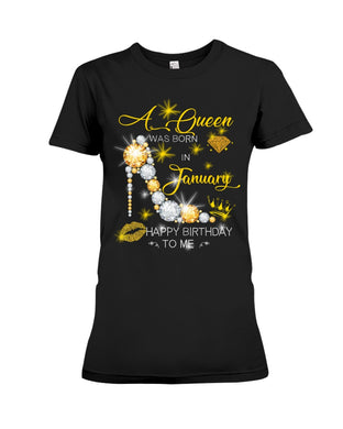 A Queen Was Born In January For Birthday Gift Ladies Tee