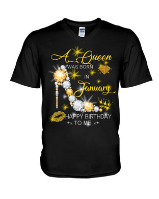 A Queen Was Born In January For Birthday Gift Guys V-Neck