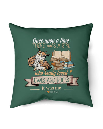 Once Upon A Time There Was A Girl Who Really Loved Owls And Books Pillow Cover