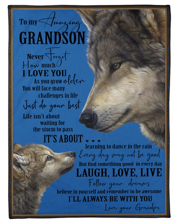 Love Grandpa Reminds Grandson To Face Challenges With The Best Fleece Blanket