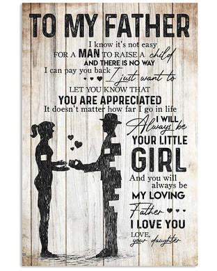 From Daughter Gift To Father Love Dad Quote Vertical Poster