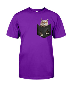 Owls In The Pocket Funny Gift Black T-Shirt Guys Tee