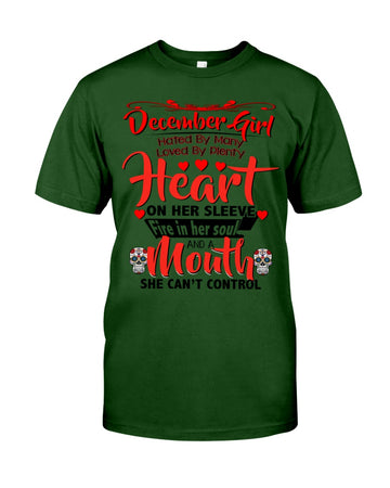 December Girl Loved By Plenty Heart And A Mouth She Can't Control Guys Tee