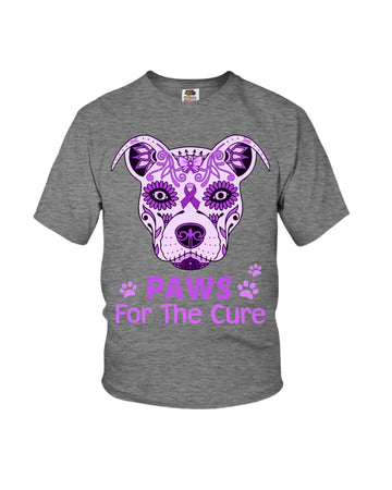 Pancreatic Cancer Pitbull Paws For The Cure Youth Tee