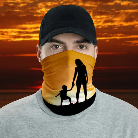 Mother And Son Silhouette Sunset Sky Gifts For Mother's Day Neck Gaiter
