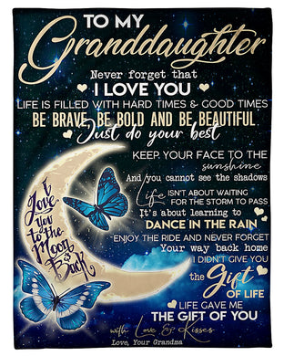 To My Granddaughter I Love You To The Moon And Back From Grandmom Fleece Blanket
