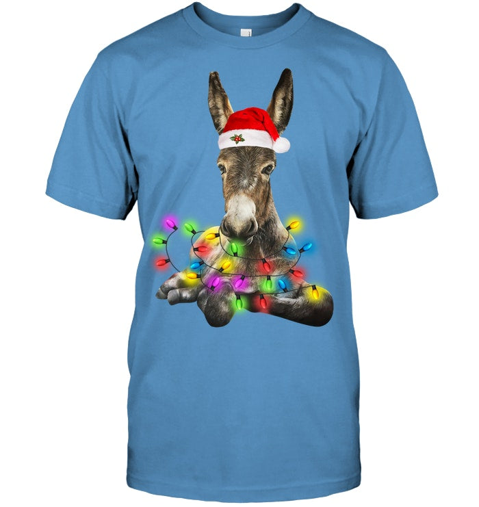 Donkey Merry And Bright Christmas Gift Black Sweatshirt Guys Tee
