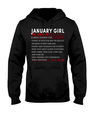 6 Facts Of January Girl Black Hoodie