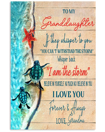 To My Granddaughter I Love You Forever And Always Love Grandma Turtle Vertical Poster