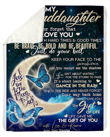 To My Granddaughter I Love You To The Moon And Back From Grandmom Sherpa Blanket