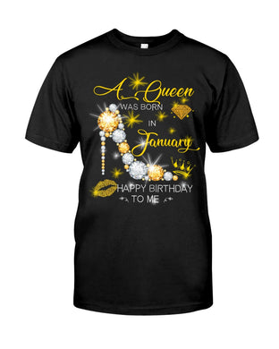 A Queen Was Born In January For Birthday Gift Guys Tee
