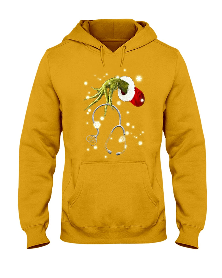 Grinch Nurse Gift For Christmas Black Hoodie
