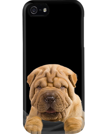 Tiny Shar Pei In Pocket For Dog Lovers Phone case