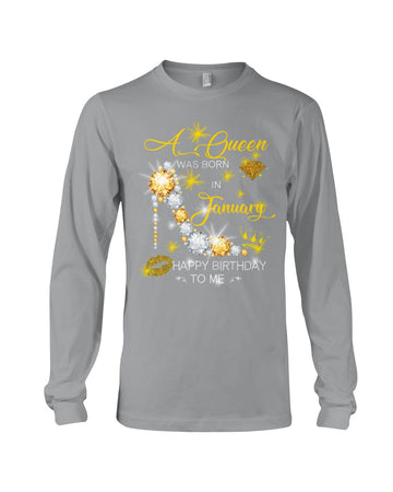 A Queen Was Born In January For Birthday Gift Unisex Long Sleeve