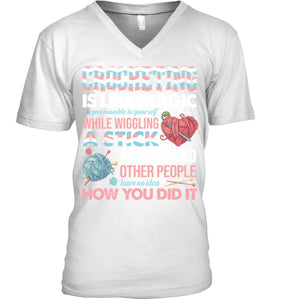 Crocheting Is Like A Magic Quote Sweatshirt Guys V-Neck