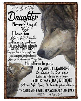 Dad To Daughter Never Forget That I Love You Fleece Blanket