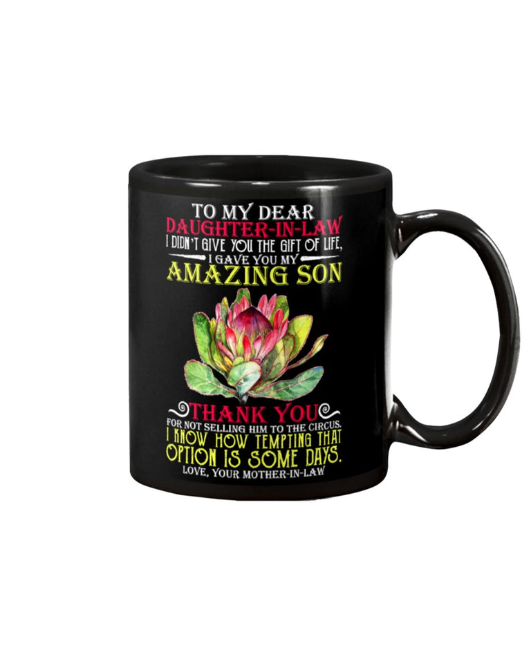 Mom To Daughter In Law Amazing Son Black Mug