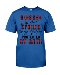 Blessed By God Spoiled By Husband Quote T-Shirt Guys Tee