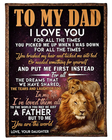 Daughter To Dad I Love You Gift For Dad Fleece Blanket