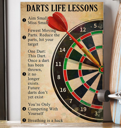 Darts Life Lessons Poster Trending Gift For Darts Players